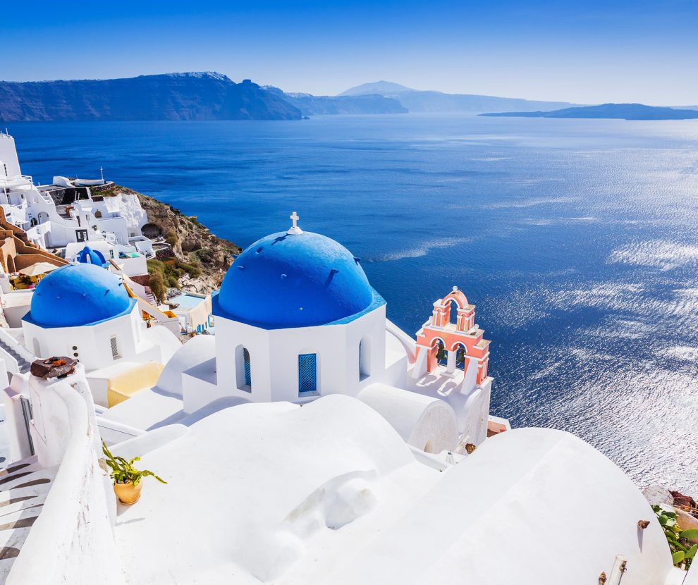 Santorini, Greece. The picturesque Oia village and Santorini caldera.